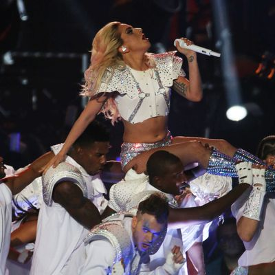 2017: Lady Gaga performs at the halftime show of Super Bowl