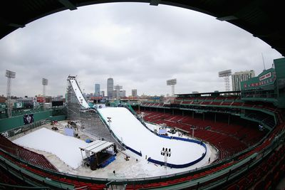 Snow was lifted onto the ramp by crane, although Boston has recently experienced natural snow fall. (AFP)