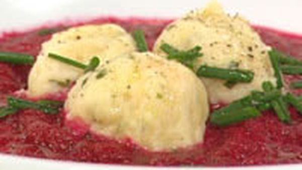 Beetroot cream soup with goat cheese dumplings