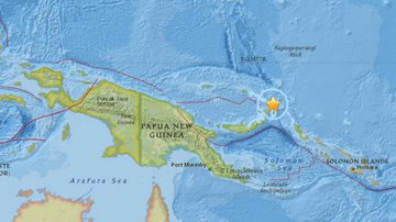 The 6.7 magnitude earthquake struck off PNG's north-eastern coast. (USGS)