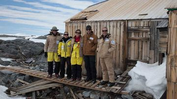 Outside the hut of Australia's greatest polar explorer, Sir Douglas Mawson.