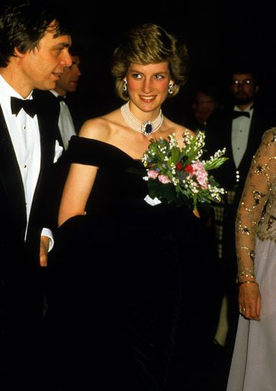 At a state reception in Vienna, Austria, Diana is wearing a midnight blue velvet evening dress designed by Victor Edelstein, 15th April 1986.
