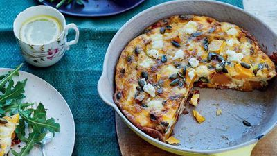 "<a href=""http://kitchen.nine.com.au/2017/03/06/16/59/butternut-squash-sundried-tomato-and-feta-frittata"" target=""_top"">'Sweet dreams' butternut pumpkin, sundried tomato and feta frittata </a>recipe"