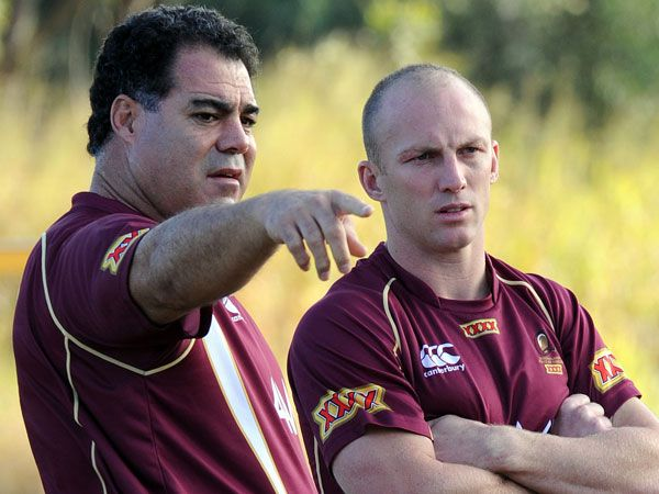 Mal Meninga (l) and Darren Lockyer. (AAP)