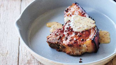 "Recipe: <a href=""http://kitchen.nine.com.au/2017/07/06/15/26/julie-goodwins-honey-mustard-glazed-pork-chops"" target=""_top"">Julie Goodwin's honey mustard glazed pork chops</a>"