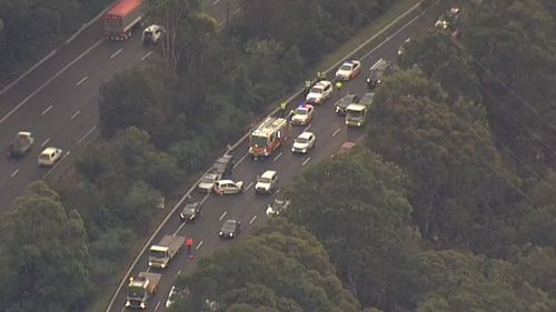 Two vehicles have crashed on the M1 southbound at Mooney Mooney. Picture: 9NEWS