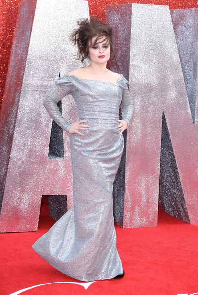 Helena Bonham-Carter in Vivienne Westwood at the London premiere of <em>Ocean's 8</em>
