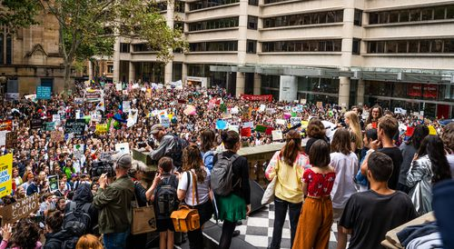 Thousands gathered at Sydney's Town Hall today.