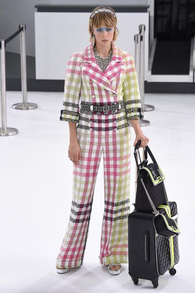 For SS16, Karl Lagerfeld transformed the Grand Palais into 'Chanel Airlines'. Fasten your seatbelt for take-off with every look from the Paris Fashion Week show.