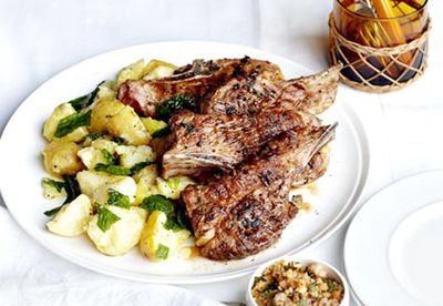 Barbecued lamb neck chops with hazelnut picada