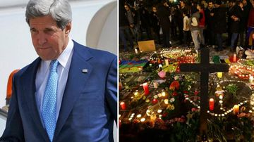 John Kerry (left), and tributes left in Brussels after the attacks (right). (Twitter and AAP)