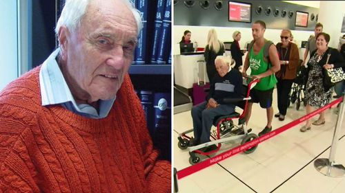 Australia's oldest scientist, Professor David Goodall, departed Perth for Switzerland yesterday. Picture: 9NEWS.