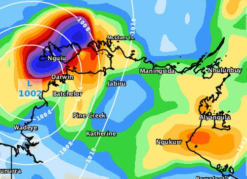 The tropical cyclone will most likely drop rainfalls of up to 300mm in parts around Darwin over the coming days, as seen in this forecast for 11pm Saturday. Picture: Weatherzone