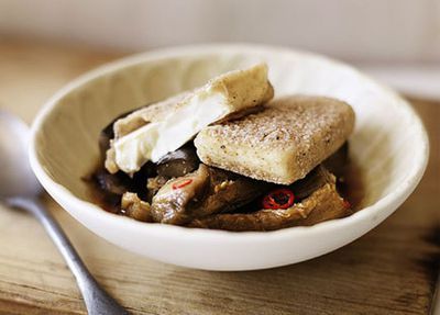 "Recipe: <a href=""https://kitchen.nine.com.au/2016/05/17/15/13/saltandpepper-tofu-with-braised-eggplant"" target=""_top"">Salt-and-pepper tofu with braised eggplant</a>"