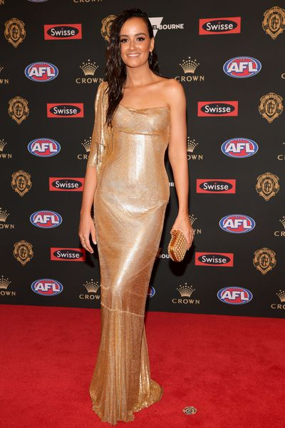 Ruby Keddie, partner of Greater Western Sydney's Callan Ward, wearing Cappellazzo Couture at the 2018 Brownlow Medal, September, 2018