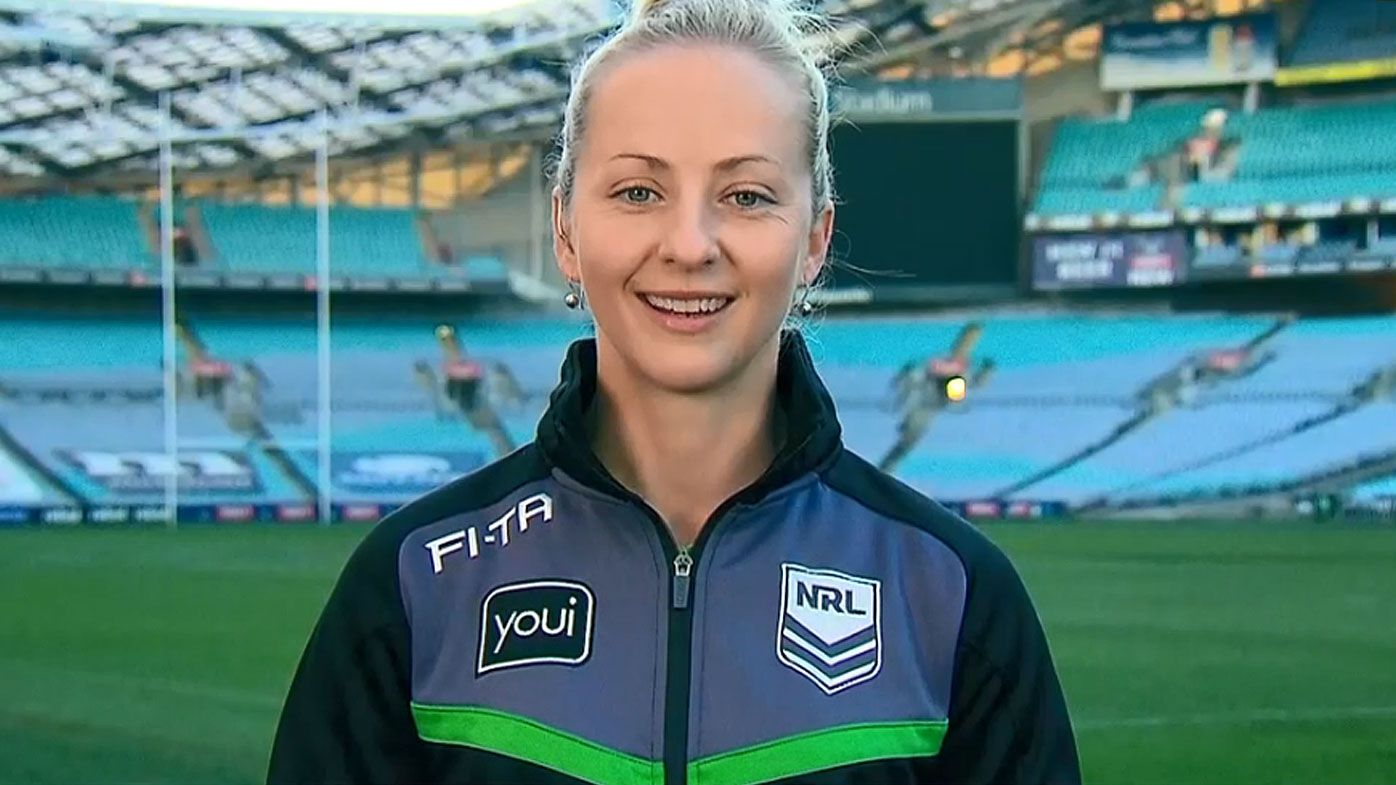 'Pioneer' Belinda Sharpe reacts to becoming NRL's first female match referee