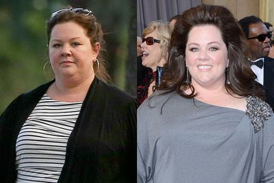 Regardless of her bizarre hairstyle, Melissa McCarthy looks so much brighter with a dash of colour and mascara.