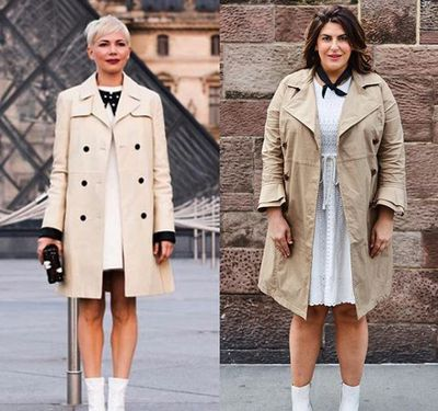 Plus-size blogger Katie Sturino replicating actress Michelle Williams' look