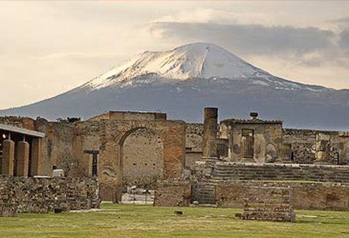 Mt Vesuvius and ruins of Pompeii