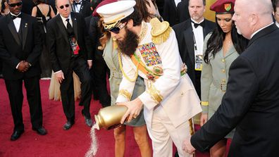 Sacha Baron Cohen made a splash on the Oscars red carpet this year - and we're not talking about the fact he rocked up dressed as Admiral General Shabazz Aladeen from upcoming flick <i>The Dictator</i>.