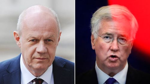 First Secretary of State Damian Green (left) has denied accusations of possessing extreme pornography, and Defense Secretary Michael Fallon has resigned after allegations. (AAP file image)