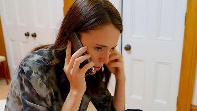 Jacinda Ardern on the phone