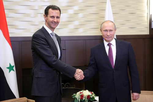 Syrian President Bashar Al-Assad and Russian counterpart Vladimir Putin have come under fire in tweets from Mr Trump. (AAP)