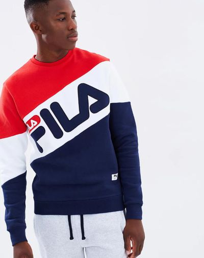 """<p><strong>On brand&nbsp;</strong></p> <p>Fila sweatshirt, $110 at <a href=""""http://www.theiconic.com.au/alec-sweatshirt-453659.html"""" target=""""_blank"""">The Iconic</a></p>"""