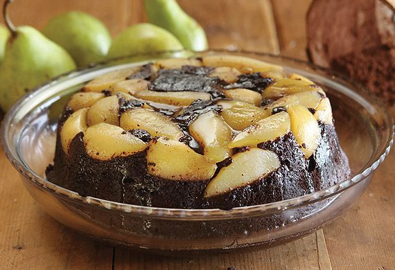 Maggie Beer's chocolate and fresh pear pudding