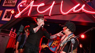 Marilyn Manson performs with Johnny Depp