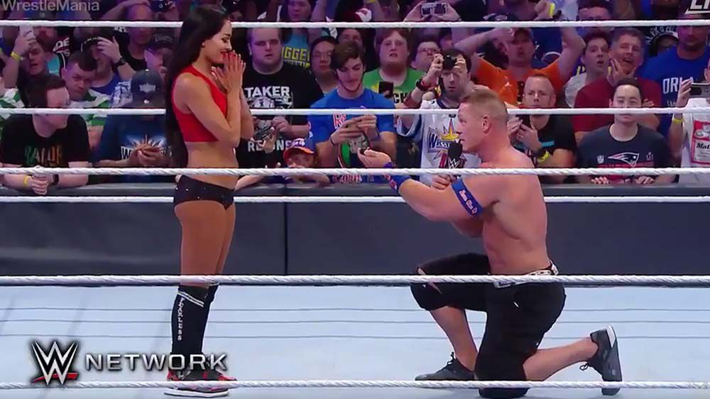 WWE's John Cena proposes to Nikki Bella at Wrestlemania