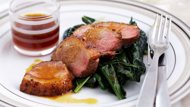 Orange duck breasts with Tuscan cabbage