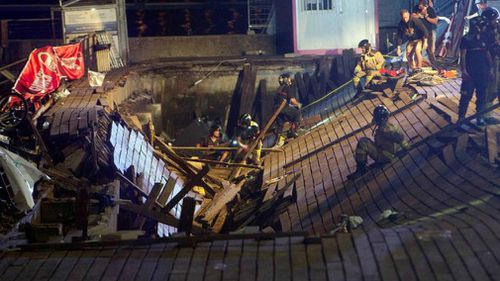 Three hundred people were injured when the platform collapsed at the music festival.