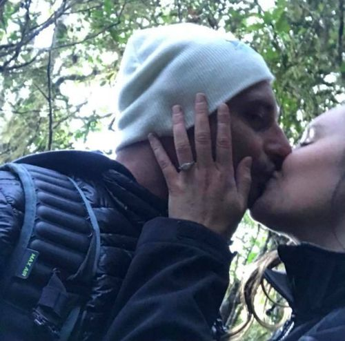 Tayla Daly with her fiance atop Wollumbin (Mountt Warning). Picture: 9NEWS