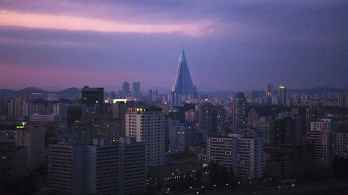 The Ryugyong Hotel towers over the Pyongyang skyline.