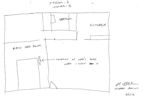 A sketch by Michael Atkins of where he found Matthew Leveson's body in their apartment the morning after a night out at Darlinghurst's ARQ nightclub. This sketch was tendered as evidence in the coronial inquest into the death of Matthew Leveson. (AAP)