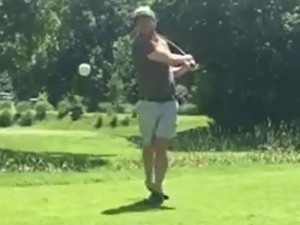 'Happy Gilmore' swing nearly takes out cameraman