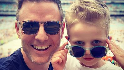 Ben Fordham and his son.