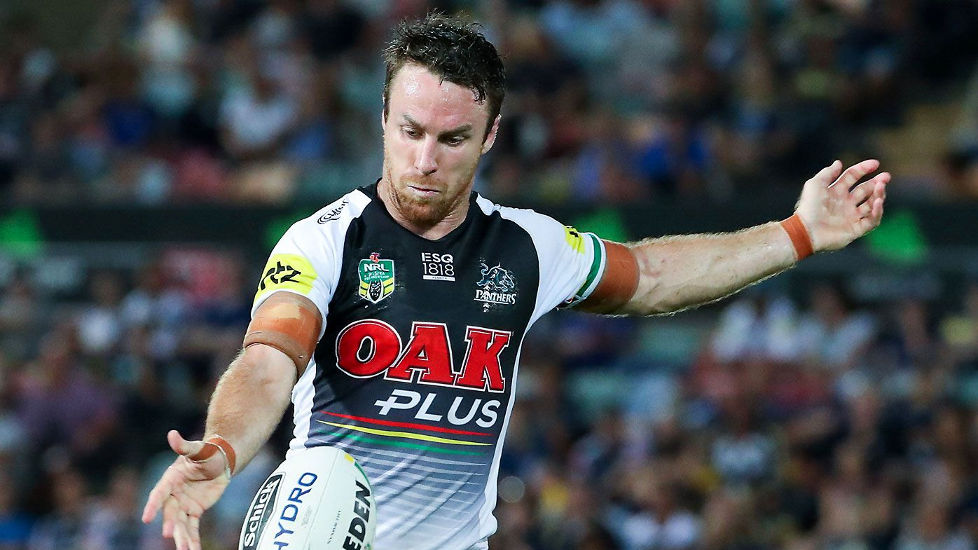 James Maloney of the Panthers gets a kick away