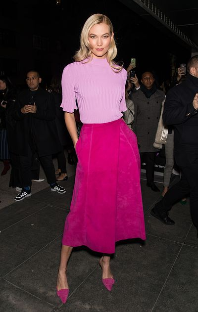 Model Karlie Kloss at the Carolina Herrera fashion show during New York Fashion Week, February, 2018