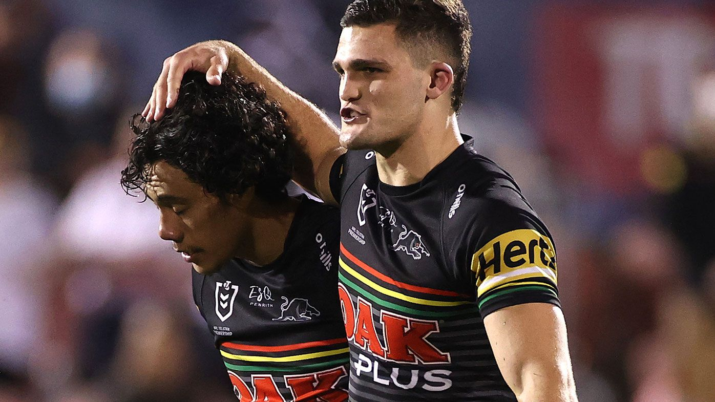 Nathan Cleary of the Panthers and Jarome Luai of the Panthers celebrate after winning the NRL Qualifying Final match between the Penrith Panthers and the Sydney Roosters at Panthers Stadium on October 02, 2020 in Sydney, Australia. (Photo by Cameron Spencer/Getty Images)