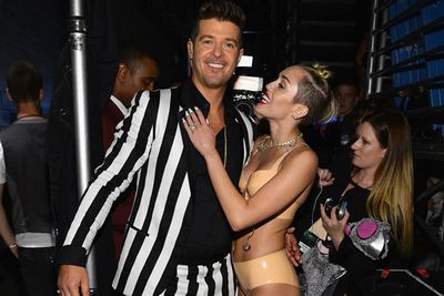 Robin admires his VMAs co-performer, but not in a sexual way. 'I thought it was silly and funny, she was being humorous and naughty, but it wasn't sexually charged at all,' he told <i>Star</i> magazine. 'That's who she is, that's how she likes to dance, she was just being herself and I was just being myself.'<br/><br/>Image: Getty