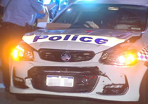 A thief has crashed a stolen police car in Cloverdale, after stealing the patrol vehicle while officers were making an unrelated arrest. Picture: 9NEWS