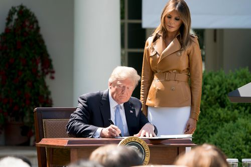 Mrs Trump made the announcement in the White House Rose Garden as President Donald Trump looked on from the audience. (AP)