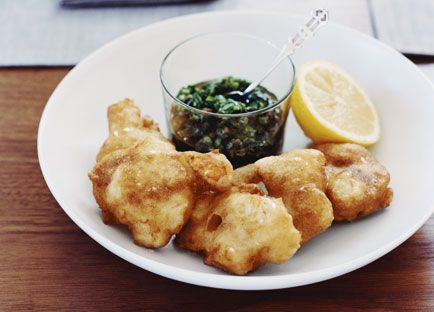 Scallop fritters with rocket salsa verde
