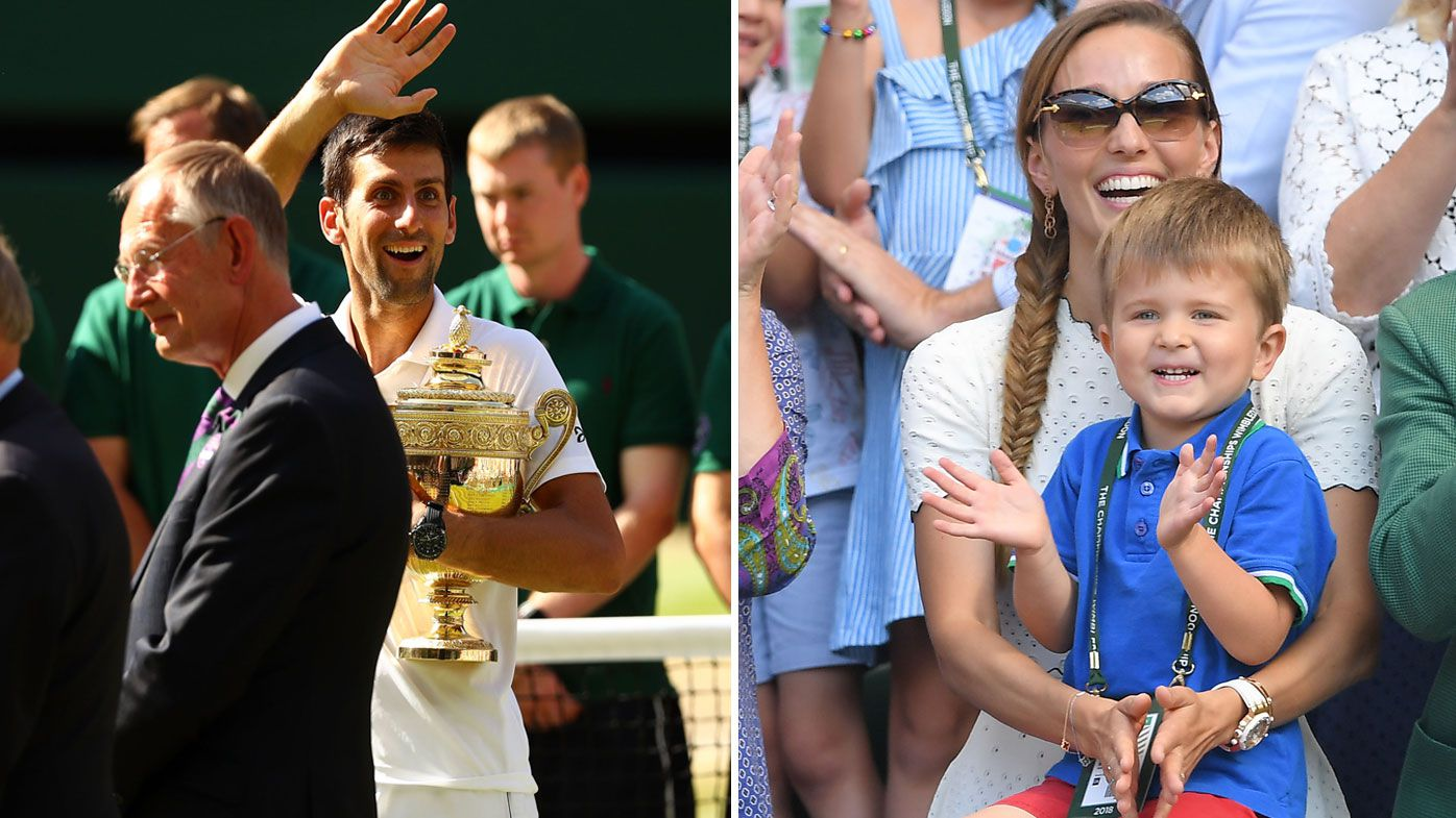 Novak Djokovic waves to his son Stefan and wife Jelena.