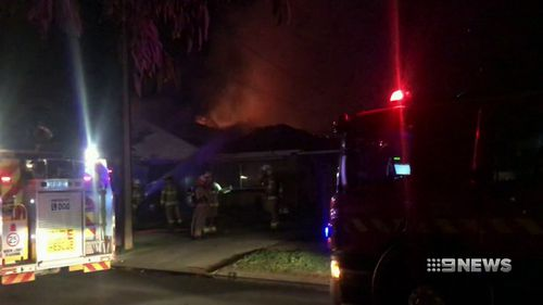 An electricity fault sparked an out-of-control house fire overnight in Adelaide's north. Picture: 9NEWS.