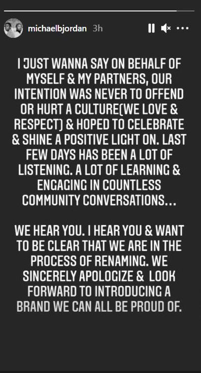 Michael B. Jordan, Instagram Story apology for rum name