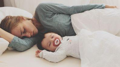 Mum and baby sleeping