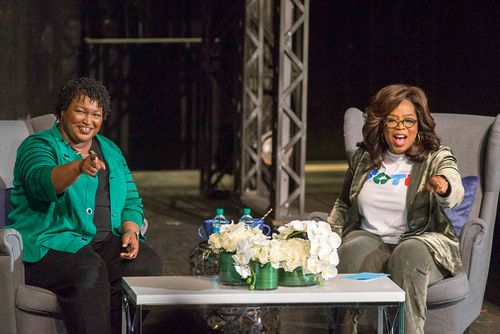 Oprah's message came as she delivered a rousing speech in the Republican-leaning suburbs of Atlanta.